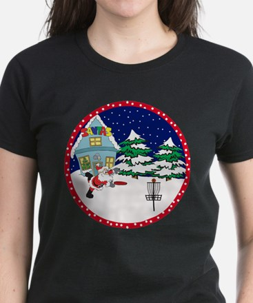 Santa Disc Golf Christmas Women's Dark T-Shirt