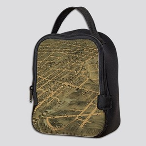 Vintage Pictorial Map of Akron Neoprene Lunch Bag