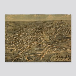 Vintage Pictorial Map of Akron Ohio 5'x7'Area Rug