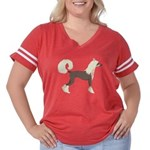 Chinese Crested Women's Plus Size Football T-Shirt