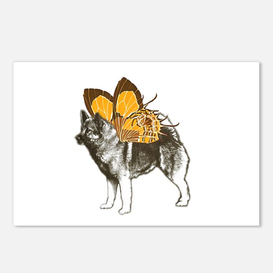 Butterfly Norwegian Elkhound Postcards (Package of