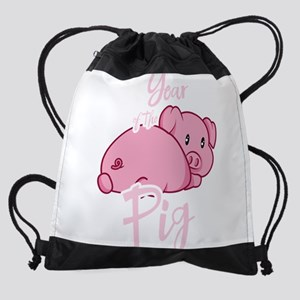 Cute Year of The Pig 2019 Chinese N Drawstring Bag