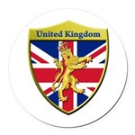United Kingdom Metallic Shield Round Car Magnet