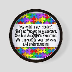 She Has Asperger's Wall Clock