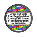 He Has Asperger's Wall Clock