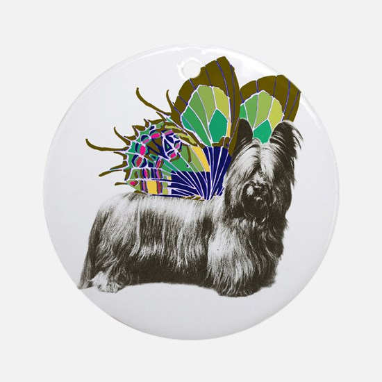 Butterfly Skye Terrier Ornament (Round)