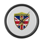 United Kingdom Metallic Shield Large Wall Clock