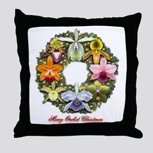 Merry Christmas Orchid Wreath Throw Pillow