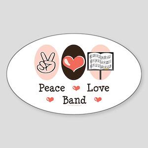 Peace Love Band Oval Sticker