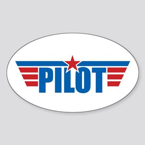 Pilot Aviation Wings Sticker (Oval)