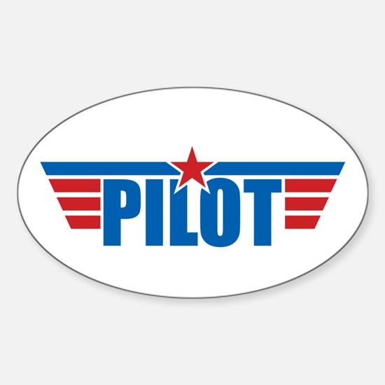 Pilot Aviation Wings Sticker (Oval)