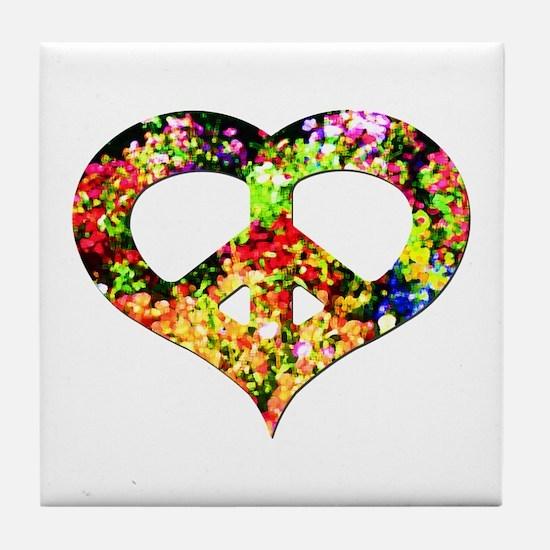 Flower Peace Heart Tile Coaster