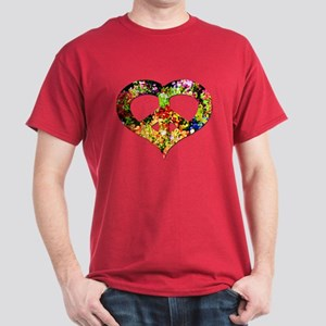 Flower Peace Heart Dark T-Shirt