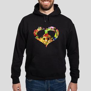 Flower Peace Heart Hoodie (dark)