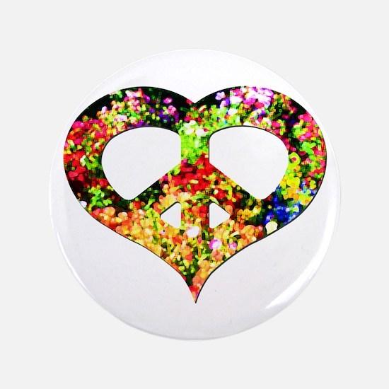 """Flower Peace Heart 3.5"""" Button"""