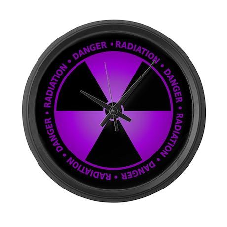 Purple Radiation Symbol Large Wall Clock