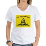 Gadsden Flag updated Women's V-Neck T-Shirt