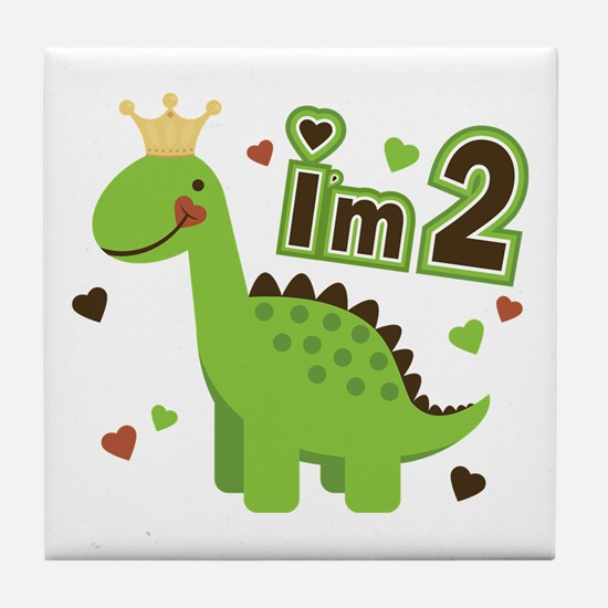 I'm 2 Dinosaur Princess Tile Coaster