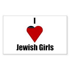 I Love (heart) Jewish Girls Rectangle Decal