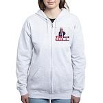 Uncle Sam on Obama Women's Zip Hoodie