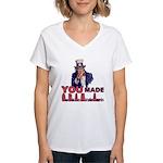 Uncle Sam on Obama Women's V-Neck T-Shirt