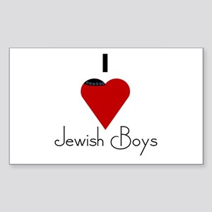 I Love (heart) Jewish Boys Rectangle Sticker
