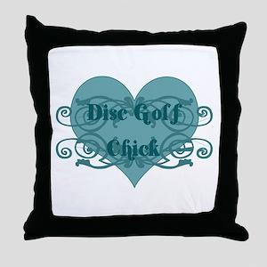Disc Golf Chick Throw Pillow
