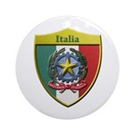 Italy Metallic Shield Round Ornament