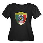 Italy Metallic Shield Plus Size T-Shirt