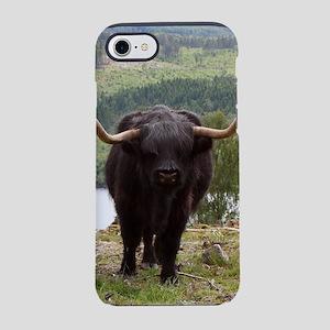 Black Highland cattle iPhone 7 Tough Case