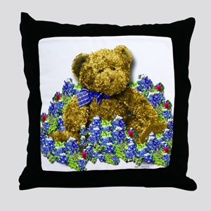 Bluebonnet Bear Throw Pillow