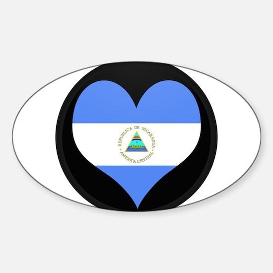 I love Nicaragua Flag Oval Decal