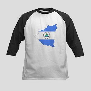 Nicaragua Flag Map Kids Baseball Jersey