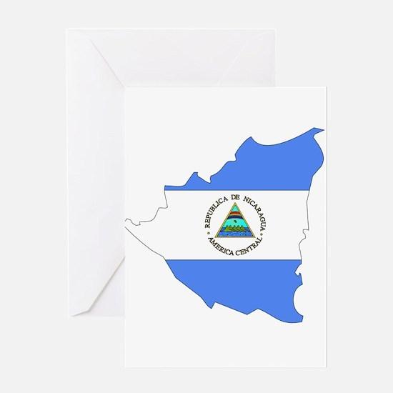 Nicaragua Flag Map Greeting Card
