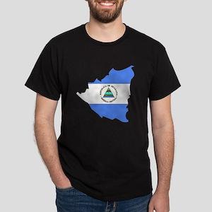 Nicaragua Flag Map Dark T-Shirt
