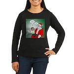 Santa and Bitcoin Women's Long Sleeve Dark T-Shirt