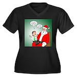 Santa and Bi Women's Plus Size V-Neck Dark T-Shirt