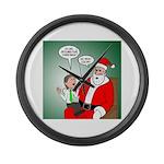 Santa and Bitcoins Large Wall Clock