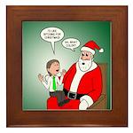 Santa and Bitcoins Framed Tile