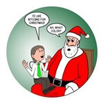Santa and Bitcoins Round Car Magnet