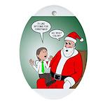 Santa and Bitcoins Oval Ornament