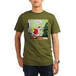 Santa and Stretching Organic Men's T-Shirt (dark)