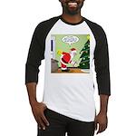 Santa and Stretching Baseball Tee