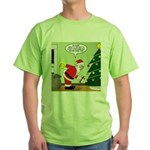 Santa and Stretching Green T-Shirt