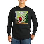 Santa and Stretching Long Sleeve Dark T-Shirt