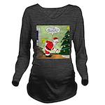 Santa and Stretching Long Sleeve Maternity T-Shirt