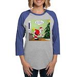 Santa and Stretching Womens Baseball Tee