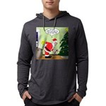 Santa and Stretching Mens Hooded Shirt