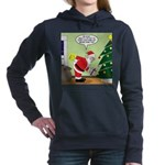 Santa and Stretching Women's Hooded Sweatshirt