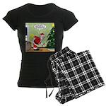 Santa and Stretching Women's Dark Pajamas